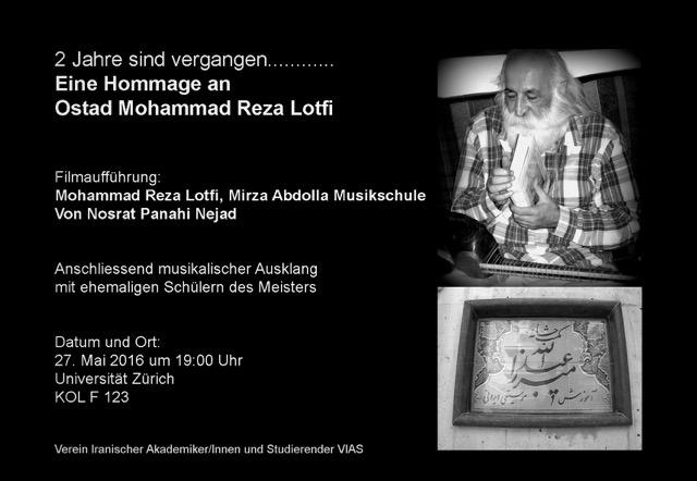 """invito per la proiezione di """" Mohammad Reza Lotfi Mirza Adolla Musikschule"""" di Nosrat Panahi Nejad"""