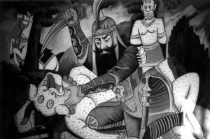 © Nosrat Panahi Nejad, scena del cunto persiano: Rostam uccide il mostro bianco, Naghali, tela di Morsched Torabi, 2007, Teheran