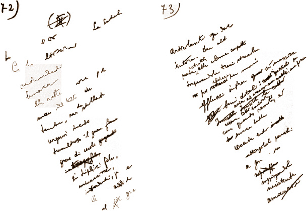 """Antonio Pizzuto manoscritto di """"Giunte e virgole Pagine 72 e 73"""""""